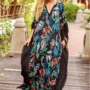 Tropical Caftan Kaftan Maxi Dress